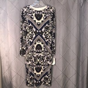 Maggie London geometric floral dress lined small